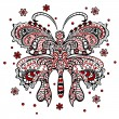 Butterfly with swirling decorative ornament — Stock Vector
