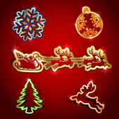 Paper Christmas icons — Stock Vector