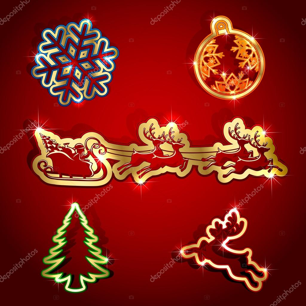 Gold paper Christmas icons, illustration. — Stock Vector #12196310