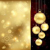 Gold Christmas baubles — Stock Vector