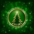 Christmas tree on green background - Stock Vector