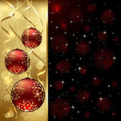 Red Christmas balls — Vector de stock
