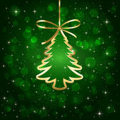 Green background with Christmas tree — Stock Vector