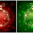 Red and green Christmas balls — Stok Vektör