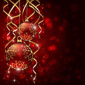 Two red Christmas balls — Vector de stock