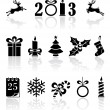 Black Christmas icons - Stock Vector