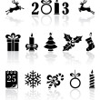 Stock Vector: Black Christmas icons