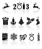 Black Christmas icons — Stock Vector