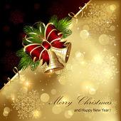 Christmas background with golden bells — Stock Vector