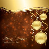 Golden Christmas balls — Vector de stock