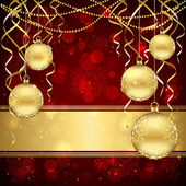 Christmas decoration with golden balls — 图库矢量图片