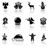 Ensemble d'icônes de noël noir — Vecteur