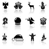Set of black Christmas icons — Stock Vector