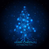 Blue digital Christmas tree — Stock Vector