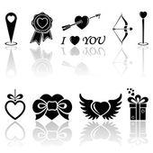 Iconos de valentines negro — Vector de stock
