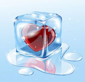 Ice cube with heart — Stock vektor