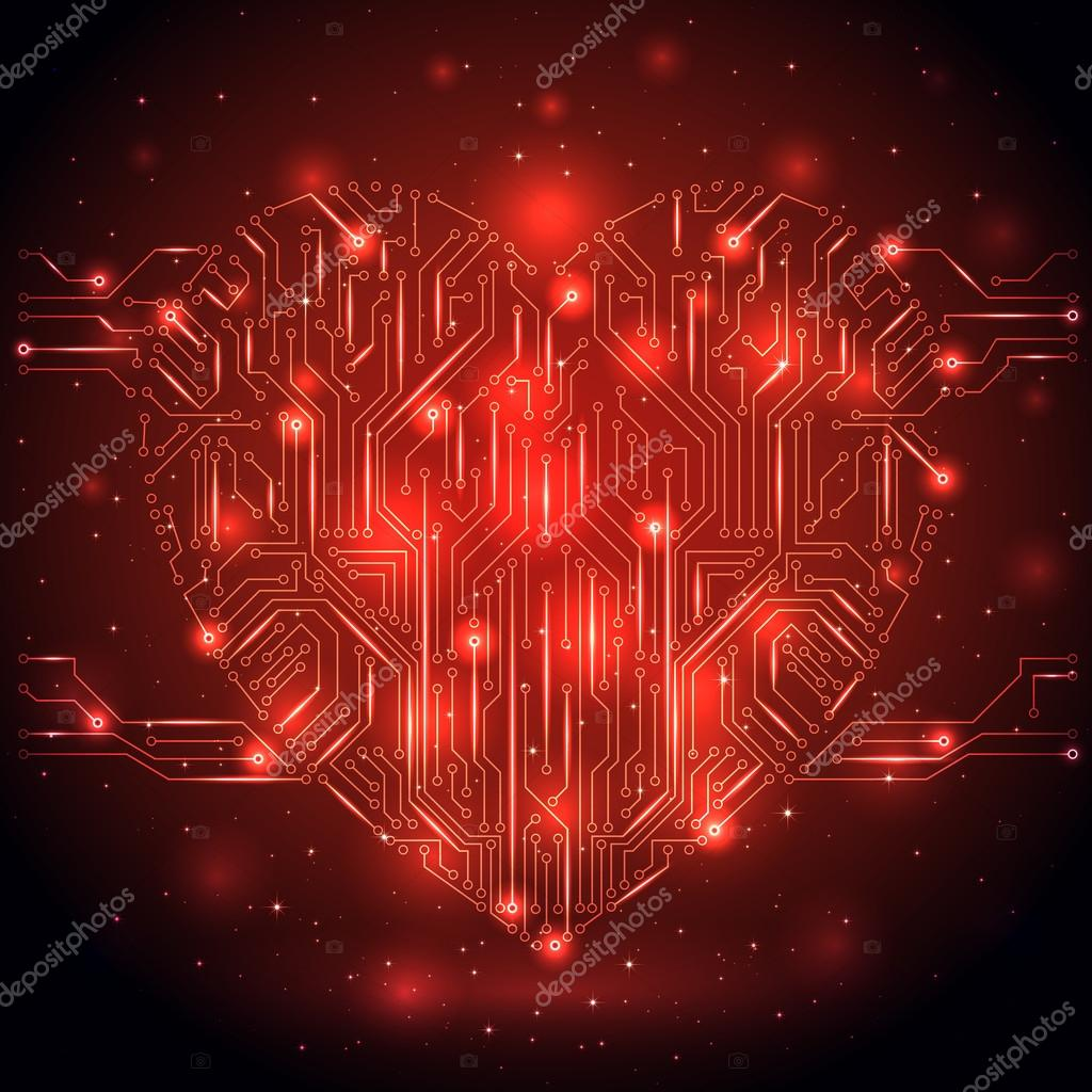 Shining Heart from a digital electronic circuit, illustration.  Stock Vector #18533049