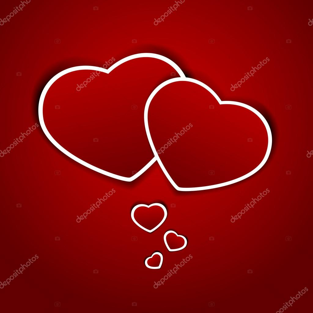 Paper hearts on a red background, illustration. — Stock Vector #19080843