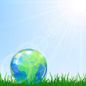 Globe in a grass — Stock Vector