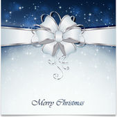 Fondo azul navidad con arco — Vector de stock