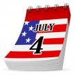 Calendar 4th july — Stock Vector