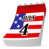 Calendar 4th july — Stock Vector