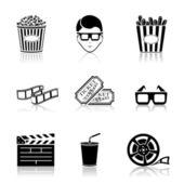 Ikony kina czarny — Wektor stockowy