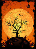 Halloween background with tree — Stock Vector