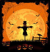 Halloween background with scarecrow — Stock Vector
