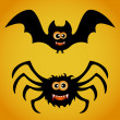 Bat and spider — Stock Vector