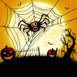 Big spider and pumpkins — 图库矢量图片