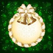 Cartão de natal verde com sinos — Vetorial Stock