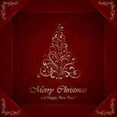 árbol de navidad dorado — Vector de stock