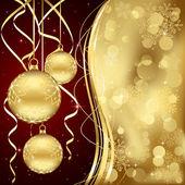 Golden Christmas baubles — Vector de stock