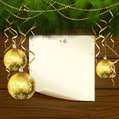 Christmas balls and paper — Stock vektor