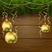 Wooden background with Christmas balls — Stock vektor