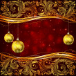Christmas balls and golden floral elements — Vector de stock