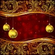 Christmas balls and golden floral elements — Vecteur
