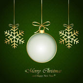 Christmas elements on green background — Stock Vector