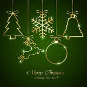 Christmas elements on seamless green background — Stock vektor
