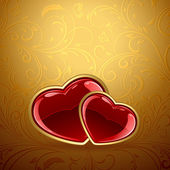 Red hearts on golden background — Stock Vector