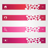 Set of infographics with hearts — Stock Vector