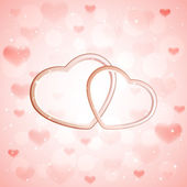 Hearts on pink background — Vector de stock