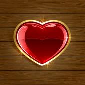Corazón sobre fondo de madera — Vector de stock