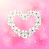 Flower heart on pink background — Vettoriale Stock