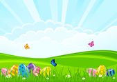 Easter eggs on a grass — Stock Vector