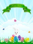 Påsk bakgrund med ägg och kanin — Stockvektor