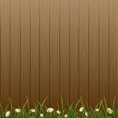 Dřevěný plot a květiny — Stock vektor
