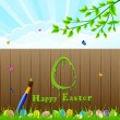 Easter background and paintbrush — Stock Vector