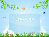 Easter banner with rabbits — Stock Vector